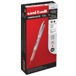 uni-ball® Vision™ Elite™ Liquid Ink Rollerball Pens, Bold Point, 0.8 mm, White Barrel, Red Ink, Pack Of 12