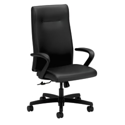 HON® Ignition™ Ergonomic Bonded Leather High-Back Chair, Black