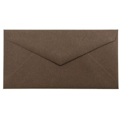 """JAM Paper® Booklet Envelopes, #7 3/4 Monarch, V-Flap, 3 7/8"""" x 7 1/2"""", 100% Recycled, Chocolate Brown, Pack Of 25"""