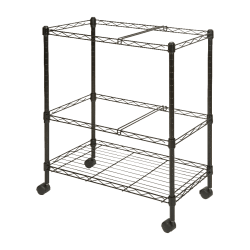 "Lorell® Mobile Wire File Cart, 2-Tier, 26""W x 12-1/2""D x 30""H, Black"