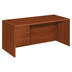HON® 10700 Series Laminate Left Pedestal Desk, Cognac