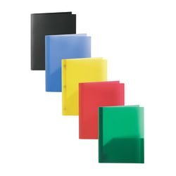 Office Depot® Brand 2-Pocket Poly Folders With Prongs, Letter Size, Assorted Colors, Pack Of 10