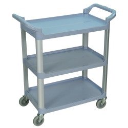 "Luxor 3-Shelf Serving Cart, 36 3/4""H x 33 1/2""W x 16 3/4""D, Gray"