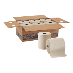 enMotion® by GP PRO 1-Ply Paper Towels, 100% Recycled, Brown, 700' Per Roll, Pack Of 6 Rolls