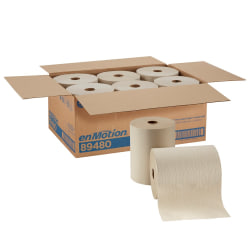 enMotion® by GP PRO 1-Ply Paper Towels, 100% Recycled, Brown, 800' Per Roll, Pack Of 6 Rolls