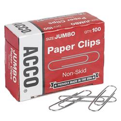 "ACCO® Jumbo Paper Clips, 1-7/8"", 20-Sheet Capacity, Silver, Box Of 1,000 Clips"