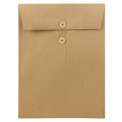 """JAM Paper® Open-End Catalog Envelopes With Button & String Closure, 9"""" x 12"""", 100% Recycled, Brown Kraft, Pack Of 25"""