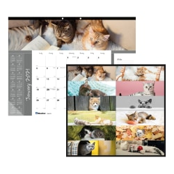 """Blueline® Furry Collection Monthly Desk Pad Calendar, 22"""" x 17"""", 50% Recycled, FSC® Certified, January to December 2021"""