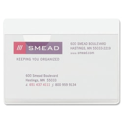 "Smead® Self-Adhesive Poly Pockets, 3"" x 4-1/16"", Clear, Business Card Size, Box Of 100"