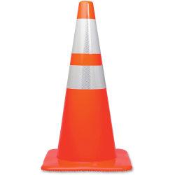 "Tatco 28"" Traffic Cone - 1 / Each - 28"" Height - Cone Shape - Stackable, Sturdy - Orange, Silver"