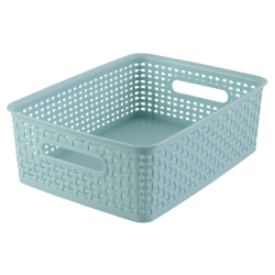 See Jane Work® Plastic Weave Bin, Medium Size, Blue