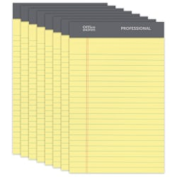 """Office Depot® Brand Professional Perforated Pads, 5"""" x 8"""", Narrow Ruled, 50 Sheets Per Pad, Canary, Pack Of 8 Pads"""