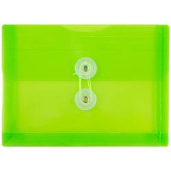 "JAM Paper® Index Booklet Plastic Envelopes, 5 1/2"" x 7 1/2"", Lime Green, Pack Of 12"