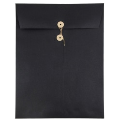 """JAM Paper® Open-End Catalog Envelopes With Button & String Closure, 9"""" x 12"""", 30% Recycled, Black, Pack Of 25"""