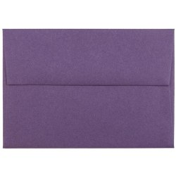"JAM Paper® Booklet Envelopes With Gummed Closure, 4 Bar A1, 3 5/8"" x 5 1/8"", Dark Purple, Pack Of 25"