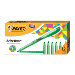 BIC® Brite Liner® Highlighters, Green, Box Of 12