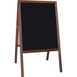 "Flipside Stained Black Chalkboard Easel, 42"" x 24"", Brown Wood Frame"