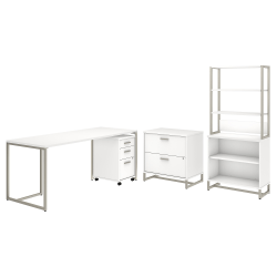 """kathy ireland® Office by Bush Business Furniture Method 72""""W Table Desk with File Cabinets and Bookcase, White, Standard Delivery"""