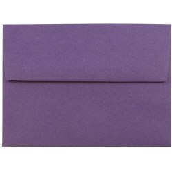 "JAM Paper® Booklet Invitation Envelopes, A6, 4 3/4"" x 6 1/2"", Dark Purple, Pack Of 25"