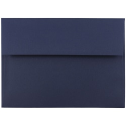 "JAM Paper® Booklet Invitation Envelopes, A7, 5 1/4"" x 7 1/4"", Navy Blue, Pack Of 25"