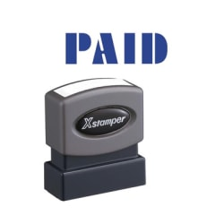 """Xstamper Blue PAID Title Stamp - Message Stamp - """"PAID"""" - 0.50"""" Impression Width x 1.62"""" Impression Length - 100000 Impression(s) - Blue - Recycled - 1 Each"""