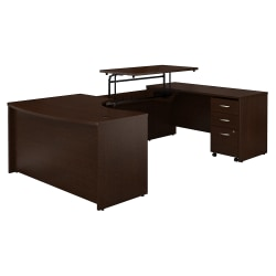 """Bush Business Furniture Components 60""""W Right Hand 3 Position Sit to Stand U Shaped Desk with Mobile File Cabinet, Mocha Cherry, Standard Delivery"""