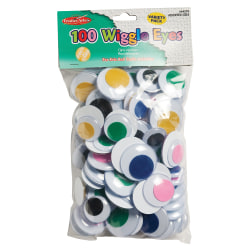 Charles Leonard Jumbo Round Wiggle Eyes, Assorted Colors, 100 Per Bag, Pack Of 2 Bags