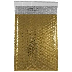"JAM Paper® Open-End Metallic Bubble Envelopes, 6 3/8"" x 9 1/2"" x 1/2"", Gold, Pack Of 12"
