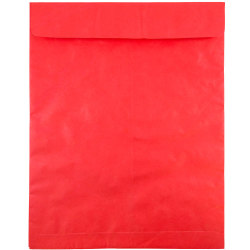 "JAM Paper® Tyvek® Open-End Envelopes With Peel & Seal, 11-1/2 x 14-1/2"", Red, Pack Of 25 Envelopes"