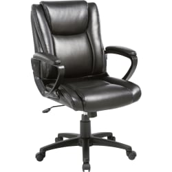 Lorell® SOHO Bonded Leather High-Back Chair, Black