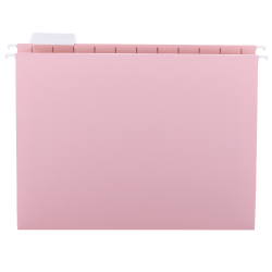 Smead® 1/5-Cut Color Hanging Folders, Letter Size, Pink, Box Of 25