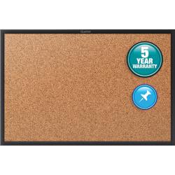 "Quartet® Classic Cork Bulletin Board - 48"" Height x 96"" Width - Brown Natural Cork Surface - Black Aluminum Frame - 1 / Each"