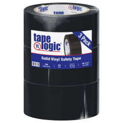 "BOX Packaging Solid Vinyl Safety Tape, 3"" Core, 2"" x 36 Yd., Black, Case Of 3"