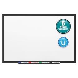 "Quartet® Classic Magnetic Dry-Erase Whiteboard, 24"" x 36"", Aluminum Frame With Black Finish"