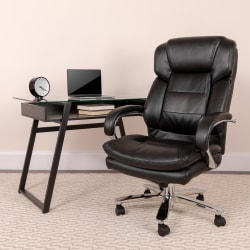 Flash Furniture Hercules 24-7 Intensive Use Big And Tall Office Chair With Loop Arms, Black Bonded LeatherSoft/Gray