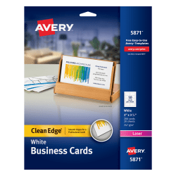 "Avery® Laser Clean Edge® Two-Side Printable Business Cards, 2"" x 3 1/2"", White, Pack Of 200"