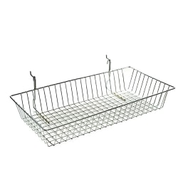 Azar Displays Chrome Wire Baskets, Medium Size, Silver, Pack Of 2