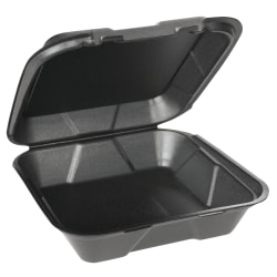 "Genpak® Snap-It® Vented Hinged Food Containers, 3""H x 9 1/4""W x 9 1/4""D, Black, 100 Containers Per Bag, Carton of 2 Bags"