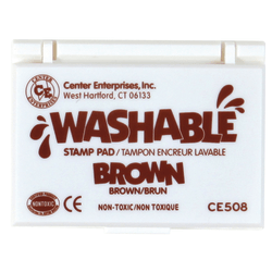 """Center Enterprise Washable Stamp Pads, 2 1/4"""" x 3 3/4"""", Brown, Pack Of 6"""