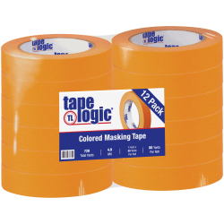"Tape Logic® Color Masking Tape, 3"" Core, 1"" x 180', Orange, Case Of 12"