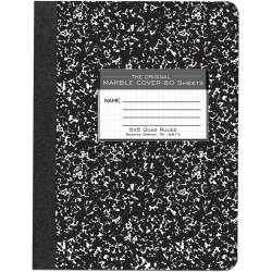 "Roaring Spring Composition Book, 7 1/2"" x 9 3/4"", Quadrille Ruled, 80 Sheets, Black Marble"