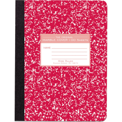 "Roaring Spring Wide-ruled Composition Book - 100 Sheets - 200 Pages - Printed - Sewn/Tapebound - Both Side Ruling Surface - Ruled Red Margin - 15 lb Basis Weight - 56 g/m² Grammage - 9 3/4"" x 7 1/2"" - 0.5"" x 7.5""9.8"" - White Paper - 1Each"