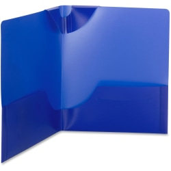 "Smead Poly Lockit® Two-Pocket Folders - Letter - 8 1/2"" x 11"" Sheet Size - 100 Sheet Capacity - 2 Inside Left, Inside Right Pocket(s) - Polypropylene - Dark Blue - 25 / Box"