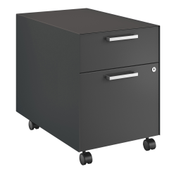 "HON® Fuse Collection 23-1/4""D 2-Drawer Letter-Size Metal Mobile Vertical Box/File Pedestal, Charcoal"