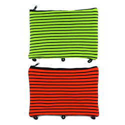 "Inkology Spandex Neon Striped Pencil Pouches, 7-1/2"" x 9-1/2"", Assorted Colors, Pack Of 6 Pouches"