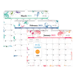 "Blue Sky™ Monthly Wire Wall Calendar, 12"" x 15"", Lindley, January To December 2021, 117888"