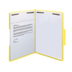 Smead® Color Reinforced Tab Fastener Folders, Letter Size, 1/3 Cut, Yellow, Pack Of 50