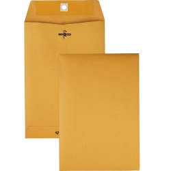 "Quality Park Clasp Envelope Clasp (6 1/2"" x 9 1/2""), 28 lb,Gummed Kraft, Box Of 100"