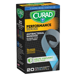 "CURAD® Performance Antibacterial Adhesive Bandages, 3/4"" x 4 3/4"", Assorted Colors, Pack Of 20"