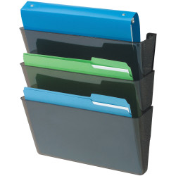 """Deflect-O DocuPocket Letter Size Wall Files, 19""""H x 13""""W x 4""""D, 50% Recycled, Black, Pack Of 3 Wall Files"""